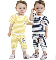 New carters baby girl boy clothes children's fashion 2015 summer 2pcs Set: t shirt+ shorts boys  striped Clothing sets infantis