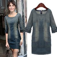 Brand New 2014 Vintage Fashion Women's Denim Dress/ Ladies' One Piece Denim Dress/ Jeans Summer Dress