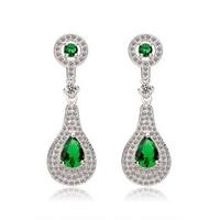 2014 New Fashion Indian Jewelry Green Emerald Dangle Earrings