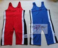 Free shipping Wrestling clothes wrestling clothes red and blue 1 men's women's tight wrestling clothes coverall