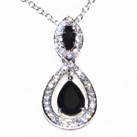 Platinum plating black Teardrop Shaped Pendant