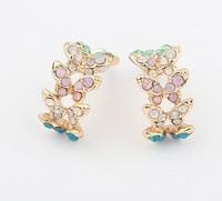 Free shipping strass oorbellen 2014 new design ladies rhinestone flowers stud earrings fashion summer cabinet butterfly earrings