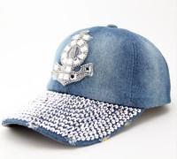 2014 Crystal boat hook denim sun-shading baseball cap female Diamond  summer sun hat cap women's
