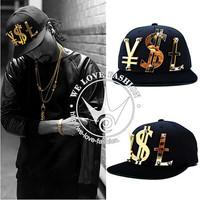 Acrylic paislee three-dimensional letter flat-brimmed hat HARAJUKU rivet cap adeen baseball cap