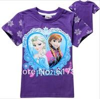 wholesale lot  New 2014 Summer Hot Fashion Girls Short Sleeve T-shirts Kids Top Tee Children's T-shirts Frozen girls clothing