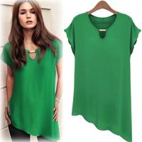 Free Shipping 2014 summer 6 colors M L XL XXL plus size clothing short-sleeve irregular chiffon blouse