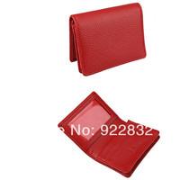 New Women's Men's Genuine Leather Bi-Fold ID-Credit Card   Holder Wallet Red