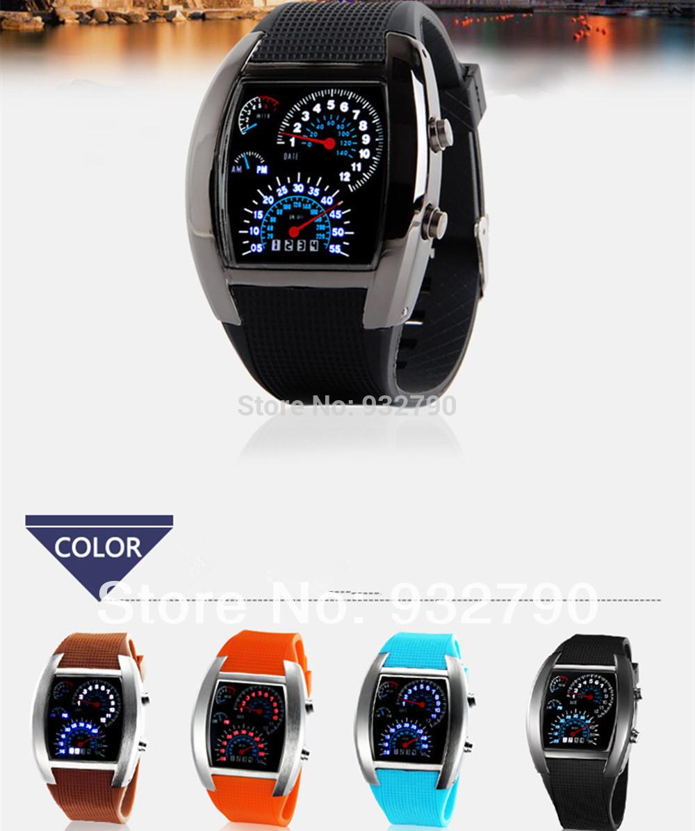 LED Car Speed Meter Dial  Watch RPM Turbo & Flash LED цены онлайн