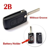 Replacement Folding Remote Key Shell 2 Button Case for CITROEN C3 C4 C5 C6 Keyless Entry Remote Fob With battery holder