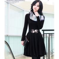 Best Price 2014 Autumn new Korean version was thin OL temperament wild Slim knit turtleneck bottoming dress women