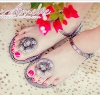 New 2014 Womens White Black Heart Flats Jelly Shoes Slipper Flip Beach Woman Sandal Flower Soft leather Laides Studen