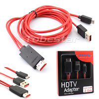 100pcs MHL 2.0M  5Pin Micro USB to HDMI Cable HDTV Adapter For Samsung Galaxy S2 i9100 Note i9220 HTC One X