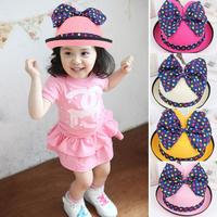 2014 New Summer Children Big Bow Polka Dot edging Bucket hats Kids pots hat Straw Hat adorable baby Beach Sun Hat Visor Caps