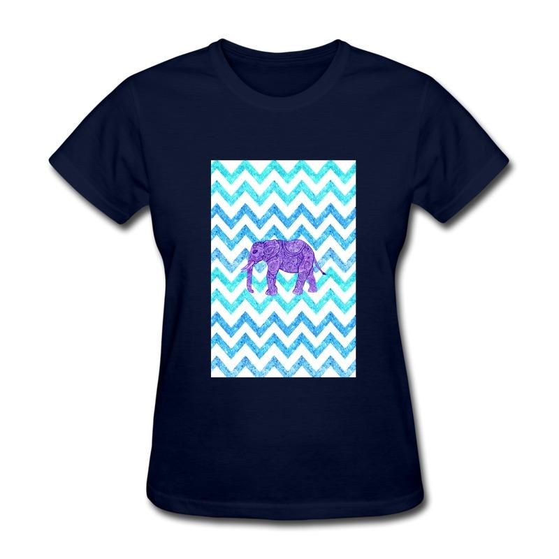 Design Pre-Cotton Women Shirt Purple Paisley elephant girly glitter Love Familly Tshirts for Womens Short-Sleeve(China (Mainland))