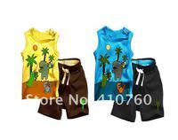 2014 New cotton Toddlers children baby boys girls 2 pcs clothing set  Coconut Tree Pattern  baby shirt + pants shorts