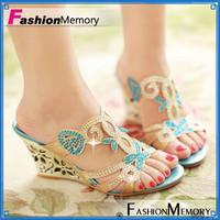 2014 Fashion Women Rhinestone Sandals Cutout  Flower Wedges High Heels Summer Shoes Platform Flip Flops Big Size 32-43 ADM728