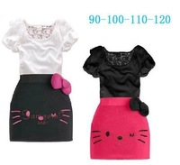 Retail new 2014 children clothing  Gilrs Dress Suit  lace bowknot decor dress sets kids Hello Kitty print t-shirt suits