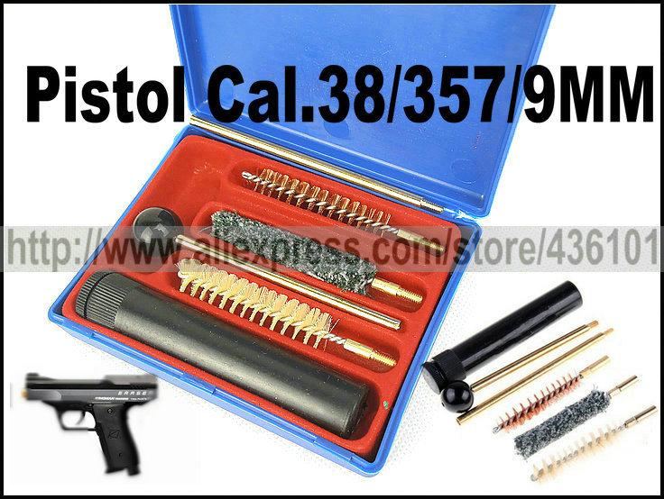 Free Shipping Pistol Cal .38 357 9MM Universal Pistol Gun Cleaning Kit Tools Set Brushes HuntingCleaner Plastic Storage Case(China (Mainland))