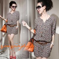 2014 Hot Summer Korean version women floral cotton dress V-neck short dress with belt Lady summer slim dress free shipping