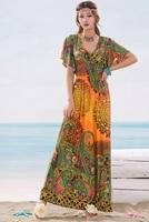 3Color Sexy Women Print Maxi Dress Novelty Casual Ethnic Ladies Bohemia Beach Slim Evening Long Dress Plus Size 2014 New Summer