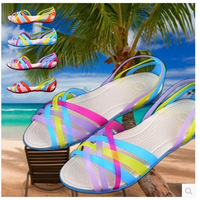 women shoes woman sandals women genuine leather shoes Beach sandals Colorful fish head Rome jelly Garden Leisure Cozy