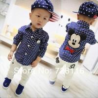 (1 pieces) Children boy Mickey Mouse long sleeve shirts boy mickey dot long sleeve shirts  boy mickey dot shirt