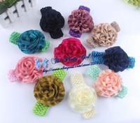 "4"" Soft Rosette Fabric Flower Headbands Baby Crochet Headbands Infant Toddlers Hair Accessories 30pcs/lot"