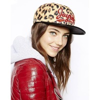 Leopard  and Leather Baseball Cap Fashion Hat High Quality Brand Cap Snapback Baseball Cap