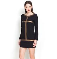 New 2014 Spring Women Winter Dress Long Sleeves Color Block Casual Dress Leather Patchwork Women Work Wear Little Black Dresses
