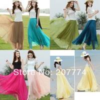 2014 Women Summer Long Skirt 10 Colors Bohemian Women's Clothes Chiffon Maxi Skirts Long To Floor Free Shipping