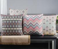 Nordic style Decorative Pillow Covers 4pcs Pillowcase Cotton Linen Cushion Cover 45cmx 45cm Chevron Decorative Throw Pillows