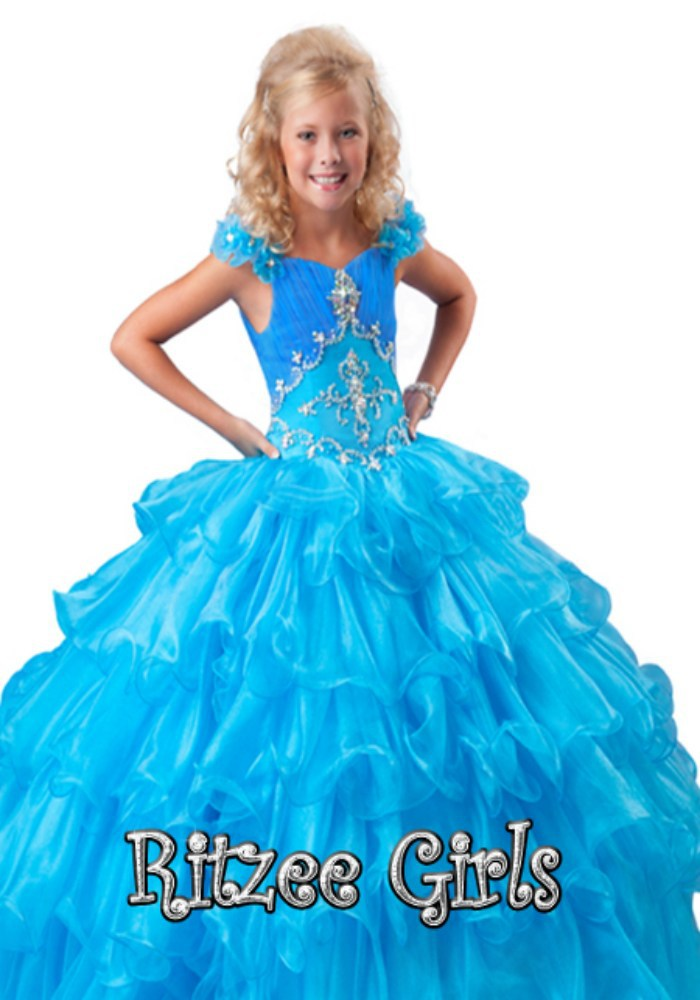 2014 Free shipping Sparkle Beading Ball Gown Custom Girls Pageant Dresses Girls Party Dresses(China (Mainland))