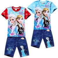 2014 Frozen girl clothing set elsa anna clothes cute children clothes popular girl clothes summer cotton T shirt 6 set/lot