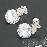 6 pairs/lot  fashion jewelry Smooth cube Winnie earrings flash zirconium crystal cute bear earrings