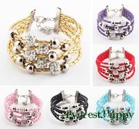 2014 NEW Arrived 24pcs Charm Shamballa Beads Braided Mutilcolor Leather Bracelet  Wristbands women gift free shipping