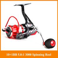 HOT SALE!!Free Shipping spinning Reels GM3000 5.0:1 10+1BB Fishing Reel casting pole rock fishing wheel