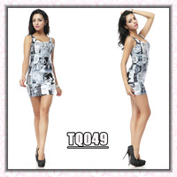 new 2014 spring summer casual cartoon embroidered sleeveless manga bodycon bandage dress vestidos de fiesta QW45 Free Shipping