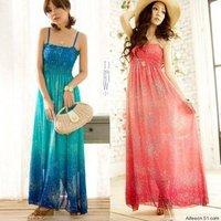 Star - bohemia expansion bottom chiffon one-piece dress spaghetti strap full dress beach dress  QZ2345