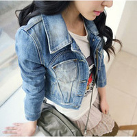 2014 New Style Girls Ladies' Denim Jacket Distressed Crop Denim Jean Jacket Coat,Fashion Vintage Slim Short Women Coat