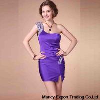 free shipping 2014 summer overseas hot new one shoulder set auger strapless  annual  party dress  vestidos de fiesta FQ077