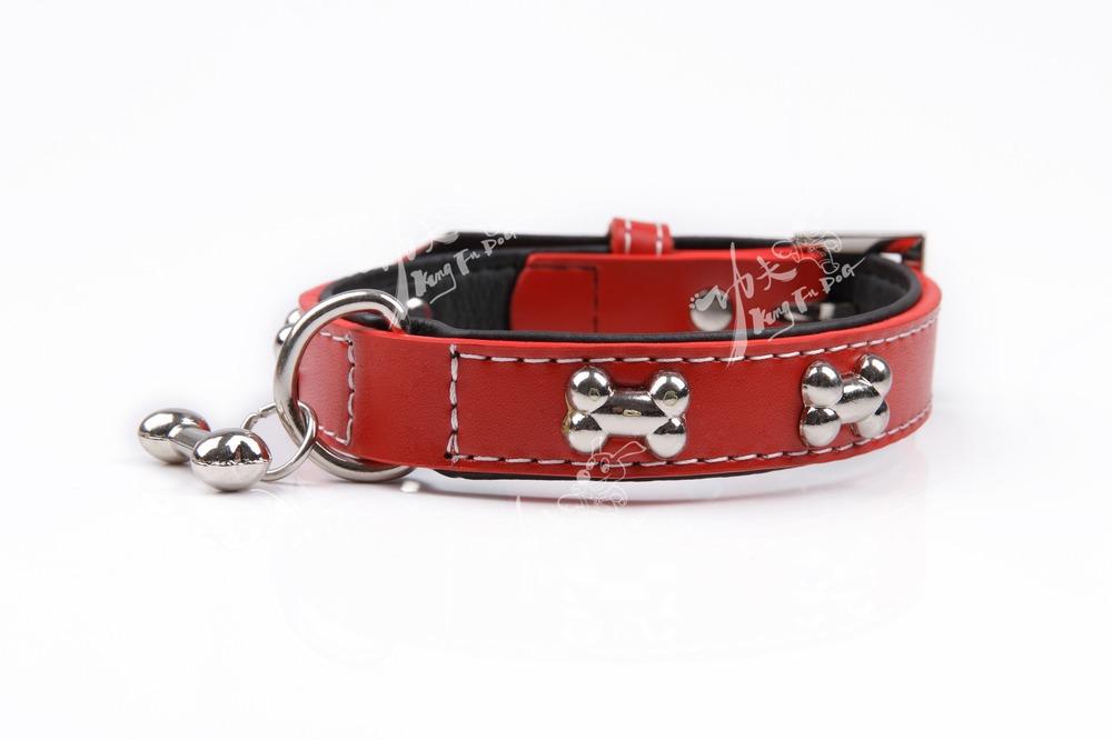 red modern in design pet dog collar with bone acc