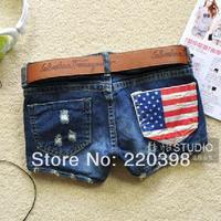 Hot sale! High Quality  fashion designer women jeans lady shorts pants garment  9511