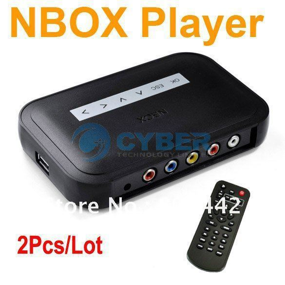 2Pcs/Lot NBOX RMVB RM MP3 AVI MPEG Divx HDD HD TV USB SD Card Media Flash Player Remote Black Free Shipping 4276(China (Mainland))