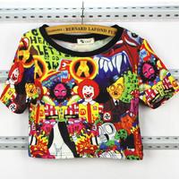 Harajuku boylondon print flag sty nda short design short-sleeve T-shirt female tops  t-shirts blouse tees female tops Blouses