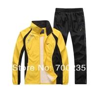 Free Shipping 2014 men's sports suit hood male sports set casual  tracksuit sweatshirt men's casual jacket +pants sportwears men