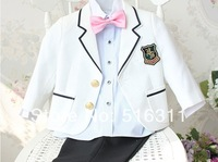 2015 boys suit set child flower  blazer male  formal  suits birthday gift costume 4psc jacket+tie+shirt+pant  free shipping KK