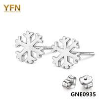 GNE0935 Designer Jewelry 2014 New Fashion Snowflake Earrings Free shipping 925 Sterling silver Jewelry Stud Earrings for women