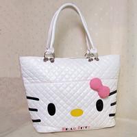 2014 New   Bow Hello Kitty Pu White Pink  Zipper   tote bag handbag shoulder Women Girl Lady Size(39cm*29.0cm*12.0cm)