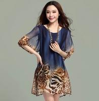 Hot selling women 2014 plus size loose casual leopard chiffon mini dress vestido de gasa de leopardo flojo ocasional