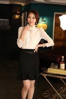 2014 S/S Women Elegant Ruffle Flare Black Skirt Ladies pleated Work Formal Bust Skirts High Quality